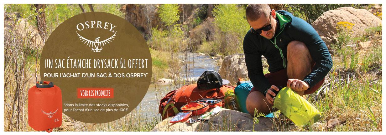 Un sac étanche offert pour l'achat d'un sac à dos Osprey !