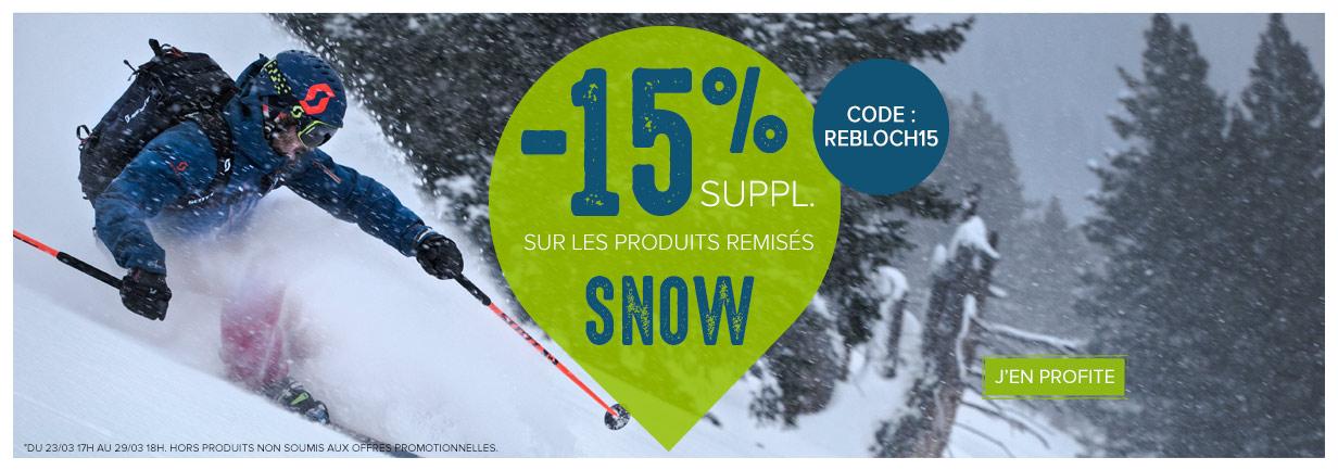 -15% supplémentaires sur les produits remisés SNOW