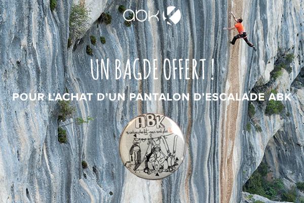 Un badge offert pour l'achat d'un pantalon d'escalade ABK !