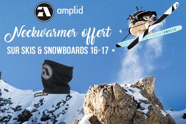 Tour de cou offert sur skis et snowboards Amplid