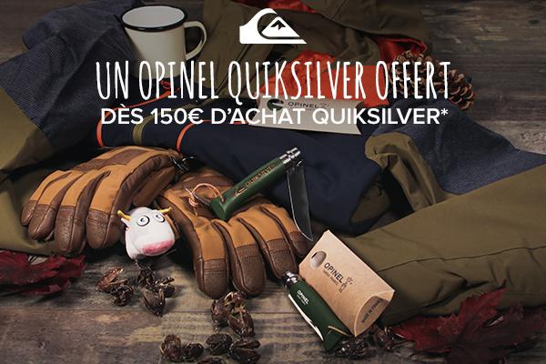 Un Opinel offert dès 150€ d'achat Quiksilver !
