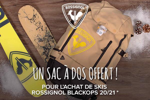 Un sac à dos offert pour l'achat d'une paire de ski Rossignol Blackops !