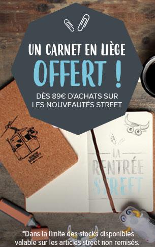 Un carnet en liège offert dès 89€ d'achats sur les nouveautés Street !