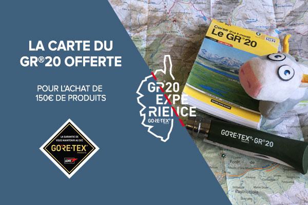 Carte du GR20 offerte sur les produits Gore-Tex