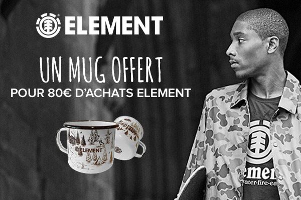 un mug offert pour 80€ d'achats Element