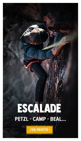 Découvrez notre rayon Escalade / Alpinisme : Petzl, Beal, Camp…