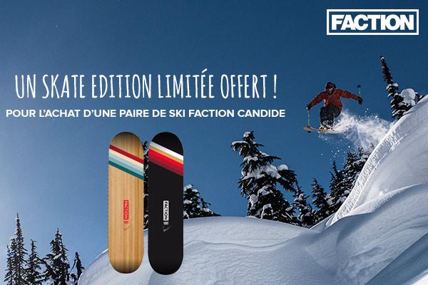 Un skate Candide collector offert avec votre paire de ski Faction!