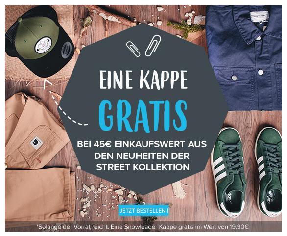 Eine Kappe gratis bei 45€ Einkaufswert aus den Neuheiten der Street Kollektion