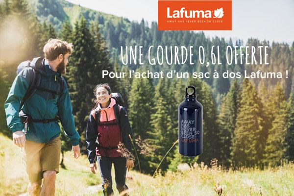 Lafuma : une gourde offerte pour l'achat d'un sac à dos.