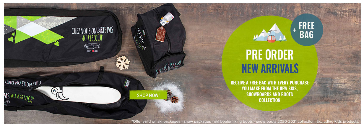 Receive a free bag with every purchase you make from the new skis, snowboards and boots collection
