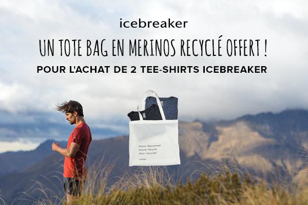 Un tote bag en merinos recyclé offert pour l'achat de 2 tee-shirts Icebreaker!