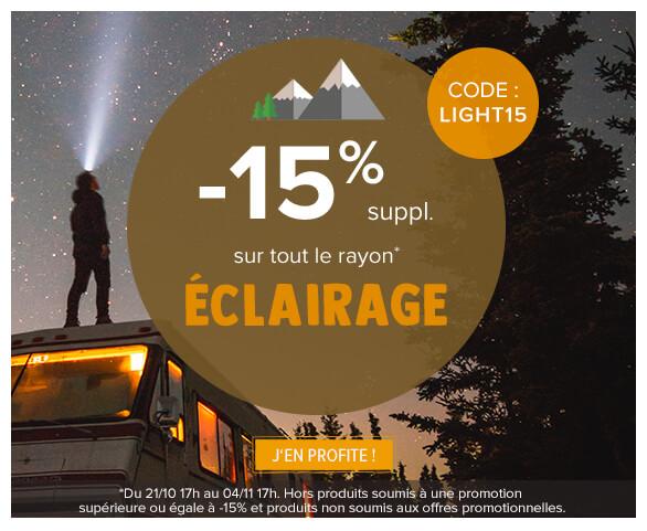 - 15% supplémentaires sur tout le rayon éclairage !