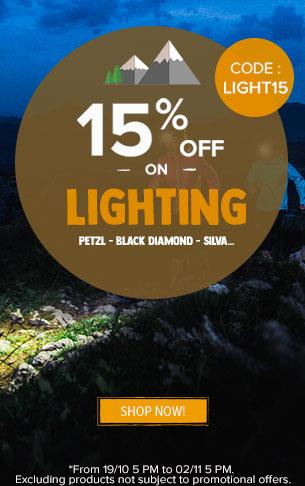 15% off on Lighting : Petzl, Black Diamond, Silva….