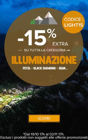 -15% extra su Illuminazione : Petzl, Black Diamond, Silva…