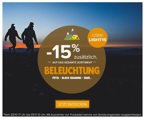 -15% zusätzlich auf Beleuchtung : Petzl, Black Diamond, Silva…