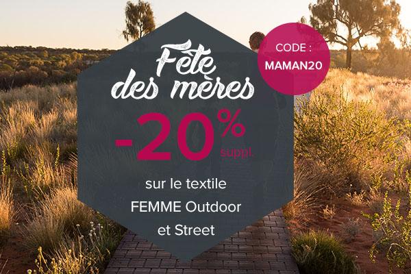 -20% supplémentaires sur le textile Femme Outdoor et Street