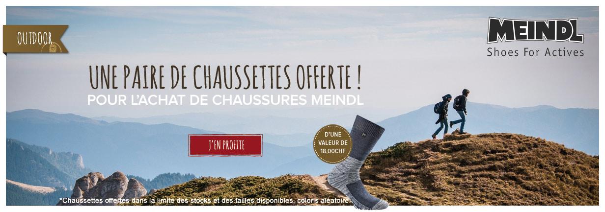 Une paire de chaussettes offerte pour l'achat de chaussures Meindl !