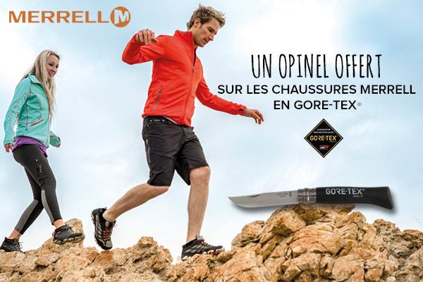 Opinel offert pour l'achat de chaussures Merrell en GORE-TEX