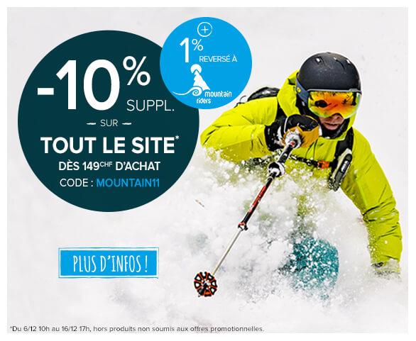 -10% supplémentaire sur tout le site dès 149CHF d'achat ! +1% reversé à Mountain Riders !