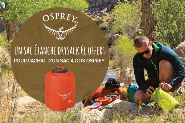Un sac étanche offert pour l'achat d'un sac à dos Osprey