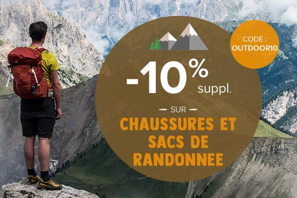 -10% supplémentaires sur les chaussures et sacs de randonnée