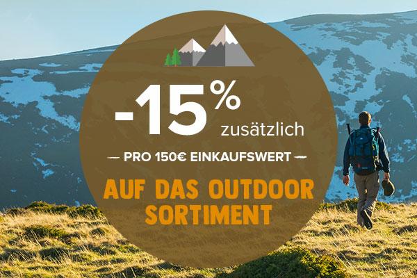 -15% zusätzlich pro 150€ einkaufswert auf Outdoor sortiment