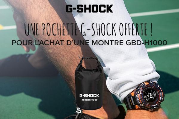 Une pochette G-Shock offerte pour l'achat d'une montre GBD-H1000 !