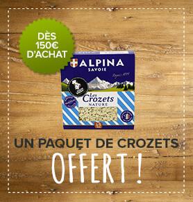 Un paquet de crozets Alpina offert dès 150€ d'achat !