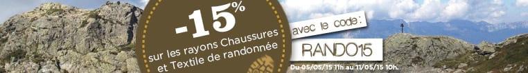 15% sur les chaussures et le textile de rando avec le code RANDO15