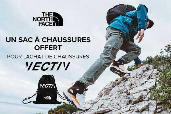 Un sac à chaussures offert avec vos chaussures outdoor Vectiv The North Face.