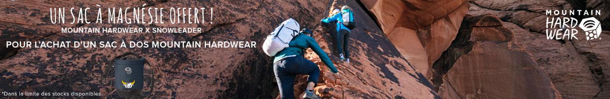 Un sac à magnésie Mountain Hardwear x Snowleader offert pour l'achat d'un sac à dos Mountain Hardwear !