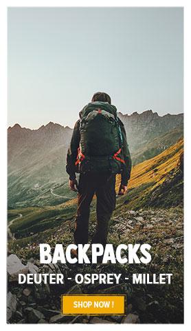 Discover our Backpacks : Deuter, Millet, Osprey…
