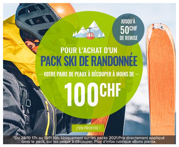 Pour l'achat d'un Pack Ski de Randonnée, bénéficiez de la paire de peaux à découper au choix à moins de 100CHF soit jusqu'à 50CHF de remise