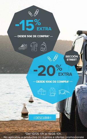 -15% extra desde 50€ de compra, -20% extra desde 100€ de compra