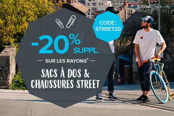 -20% supplémentaires sur les rayons Sacs à dos et Chaussures Street