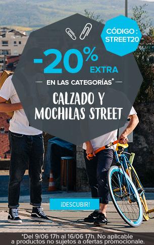 -20% extra en todas la categorias Mochilas y Calzado street