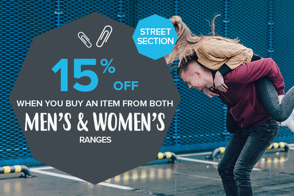 -15% off When you buy an item from both the men's and women's ranges