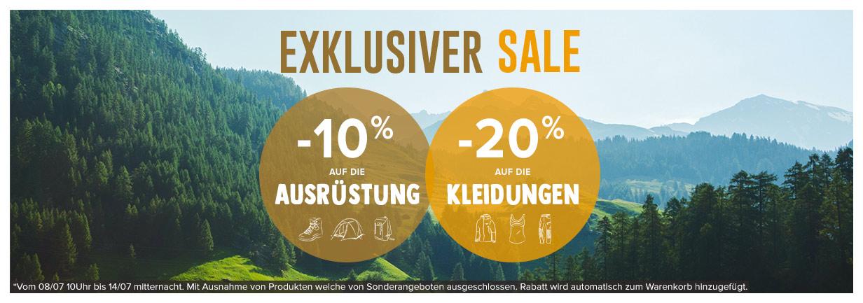 Exklusiver Sale : -10% auf die Ausrüstung / -20% auf die kleidungen