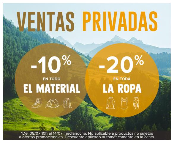Ventas privadas : -10% en todo el material y -20% en toda la ropa