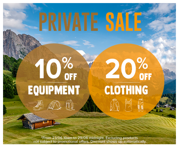 Private Sale : 10% off all Equipment products and 20% off Clothing products !