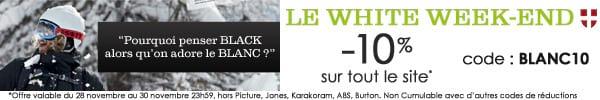 White Weekend : -10% sur tout le site code BLANC10