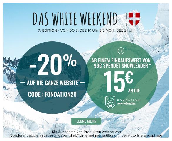 -20% auf die ganze Website. Ab einem Einkaufswert von 99€ spendet Snowleader 15€ an die Snowleader Foundation