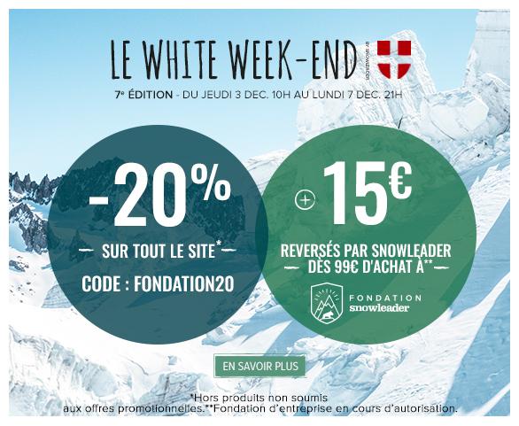 Profitez de -20% sur tout le site et Snowleader reverse 15€ dès 99€ d'achat à la fondation d'entreprise Snowleader !